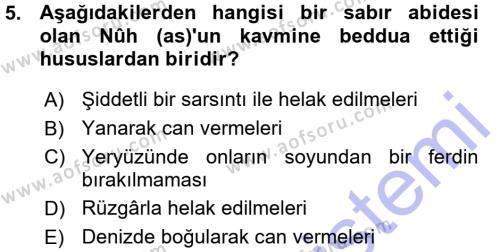 İlahiyat Bölümü 3. Yarıyıl Tefsir Dersi 2016 Yılı Güz Dönemi Ara Sınavı 5. Soru