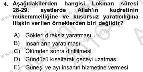 İlahiyat Bölümü 3. Yarıyıl Tefsir Dersi 2017 Yılı Güz Dönemi Ara Sınavı 4. Soru