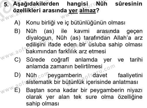 İlahiyat Bölümü 3. Yarıyıl Tefsir Dersi 2017 Yılı Güz Dönemi Ara Sınavı 5. Soru