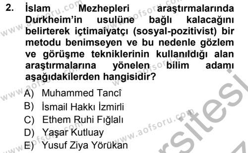 İslam Mezhepleri Tarihi Dersi 2012 - 2013 Yılı (Vize) Ara Sınav Soruları 2. Soru