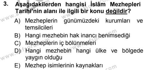 İslam Mezhepleri Tarihi Dersi 2012 - 2013 Yılı (Vize) Ara Sınav Soruları 3. Soru