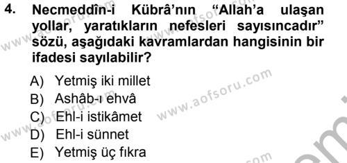 İslam Mezhepleri Tarihi Dersi 2012 - 2013 Yılı (Vize) Ara Sınav Soruları 4. Soru