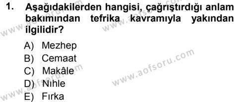 İslam Mezhepleri Tarihi Dersi 2012 - 2013 Yılı (Final) Dönem Sonu Sınav Soruları 1. Soru