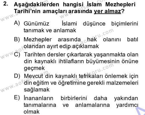 İslam Mezhepleri Tarihi Dersi 2013 - 2014 Yılı (Vize) Ara Sınav Soruları 2. Soru