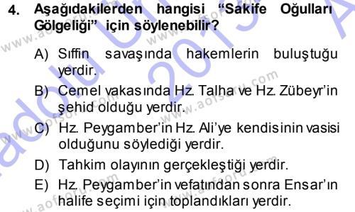 İslam Mezhepleri Tarihi Dersi 2013 - 2014 Yılı (Vize) Ara Sınav Soruları 4. Soru