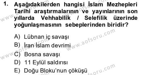 İlahiyat Bölümü 3. Yarıyıl İslam Mezhepleri Tarihi Dersi 2014 Yılı Güz Dönemi Dönem Sonu Sınavı 1. Soru