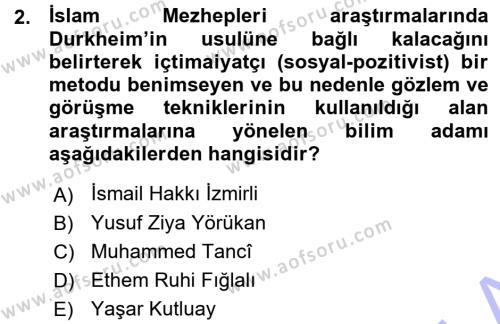 İslam Mezhepleri Tarihi Dersi 2015 - 2016 Yılı (Vize) Ara Sınav Soruları 2. Soru