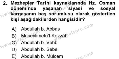 İslam Mezhepleri Tarihi Dersi 2015 - 2016 Yılı (Final) Dönem Sonu Sınav Soruları 2. Soru
