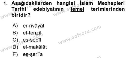 İslam Mezhepleri Tarihi Dersi 2015 - 2016 Yılı Tek Ders Sınav Soruları 1. Soru