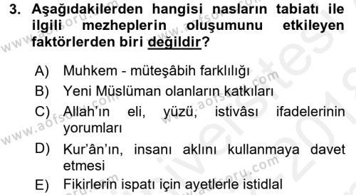İslam Mezhepleri Tarihi Dersi 2017 - 2018 Yılı (Final) Dönem Sonu Sınav Soruları 3. Soru