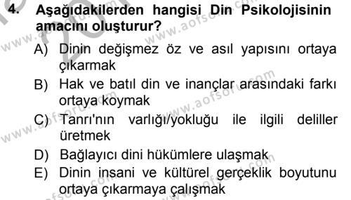 İlahiyat Bölümü 3. Yarıyıl Din Psikolojisi Dersi 2013 Yılı Güz Dönemi Ara Sınavı 4. Soru