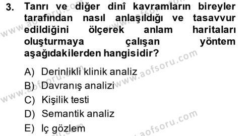 Din Psikolojisi Dersi 2013 - 2014 Yılı (Vize) Ara Sınav Soruları 3. Soru