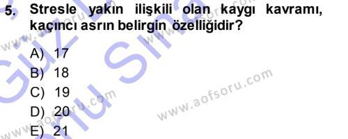 İlahiyat Bölümü 3. Yarıyıl Din Psikolojisi Dersi 2014 Yılı Güz Dönemi Dönem Sonu Sınavı 5. Soru