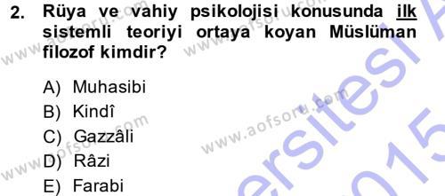 Din Psikolojisi Dersi 2014 - 2015 Yılı (Vize) Ara Sınav Soruları 2. Soru