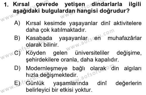 Din Psikolojisi Dersi 2018 - 2019 Yılı (Final) Dönem Sonu Sınav Soruları 1. Soru