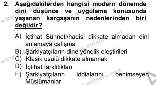 Hadis Dersi 2012 - 2013 Yılı (Vize) Ara Sınav Soruları 2. Soru