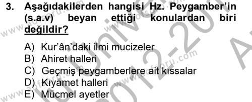 Hadis Dersi 2012 - 2013 Yılı (Vize) Ara Sınav Soruları 3. Soru