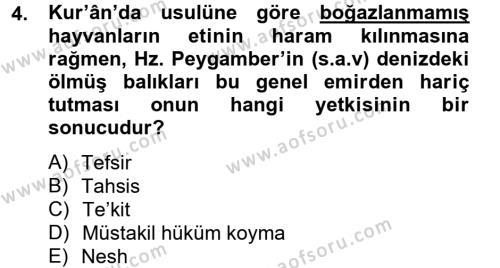 Hadis Dersi 2012 - 2013 Yılı (Vize) Ara Sınav Soruları 4. Soru