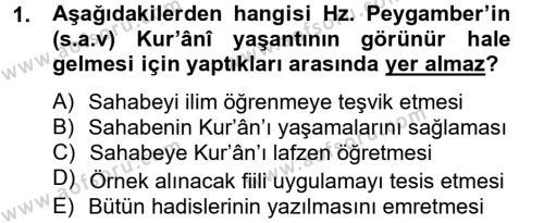 İlahiyat Bölümü 4. Yarıyıl Hadis Dersi 2013 Yılı Bahar Dönemi Dönem Sonu Sınavı 1. Soru