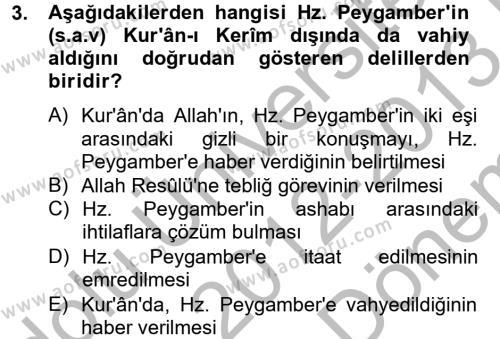 Hadis Dersi 2012 - 2013 Yılı (Final) Dönem Sonu Sınav Soruları 3. Soru