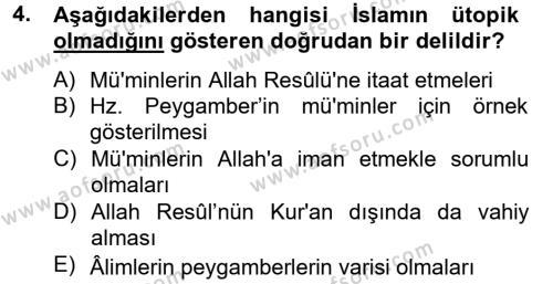 İlahiyat Bölümü 4. Yarıyıl Hadis Dersi 2013 Yılı Bahar Dönemi Dönem Sonu Sınavı 4. Soru