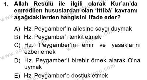 Hadis Dersi 2013 - 2014 Yılı (Vize) Ara Sınav Soruları 1. Soru