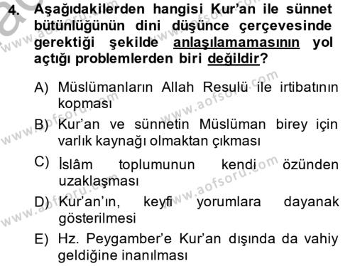 Hadis Dersi 2013 - 2014 Yılı (Vize) Ara Sınav Soruları 4. Soru