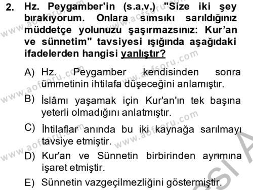 Hadis Dersi 2013 - 2014 Yılı (Final) Dönem Sonu Sınav Soruları 2. Soru