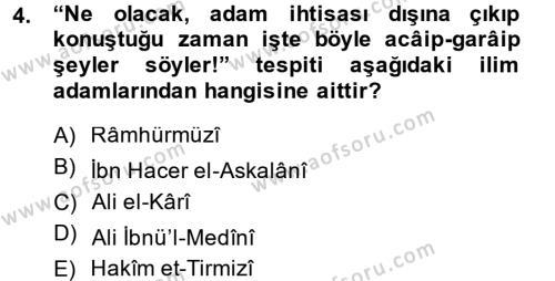 Hadis Dersi 2013 - 2014 Yılı (Final) Dönem Sonu Sınav Soruları 4. Soru