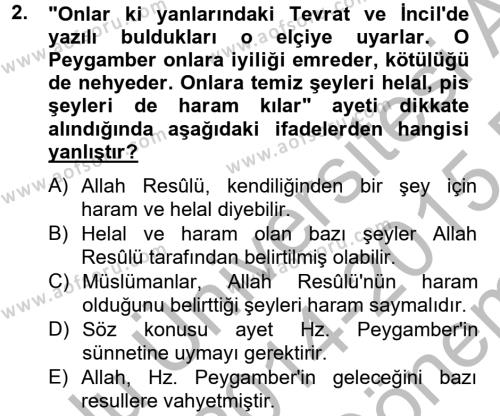 Hadis Dersi 2014 - 2015 Yılı (Final) Dönem Sonu Sınav Soruları 2. Soru