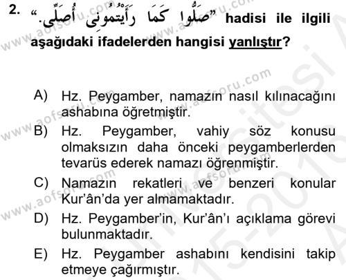 Hadis Dersi 2015 - 2016 Yılı (Vize) Ara Sınav Soruları 2. Soru