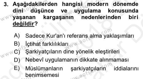 Hadis Dersi 2018 - 2019 Yılı (Vize) Ara Sınav Soruları 3. Soru