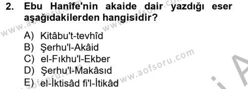 Kelam´a Giriş Dersi 2012 - 2013 Yılı (Vize) Ara Sınav Soruları 2. Soru