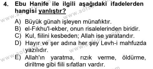 Kelam´a Giriş Dersi 2012 - 2013 Yılı (Final) Dönem Sonu Sınav Soruları 4. Soru