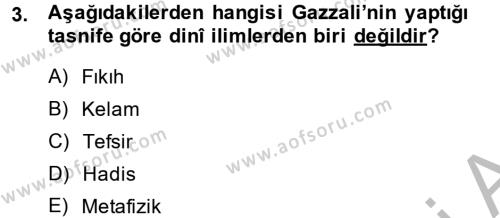 Kelam´a Giriş Dersi 2013 - 2014 Yılı (Vize) Ara Sınav Soruları 3. Soru