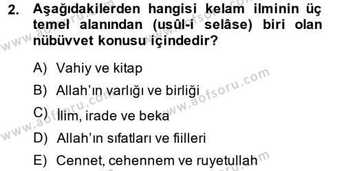 Kelam´a Giriş Dersi 2014 - 2015 Yılı (Vize) Ara Sınav Soruları 2. Soru