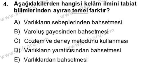 Kelam´a Giriş Dersi 2014 - 2015 Yılı (Vize) Ara Sınav Soruları 4. Soru