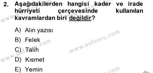 Kelam´a Giriş Dersi 2014 - 2015 Yılı (Final) Dönem Sonu Sınav Soruları 2. Soru