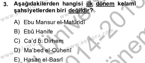 Kelam´a Giriş Dersi 2014 - 2015 Yılı (Final) Dönem Sonu Sınav Soruları 3. Soru