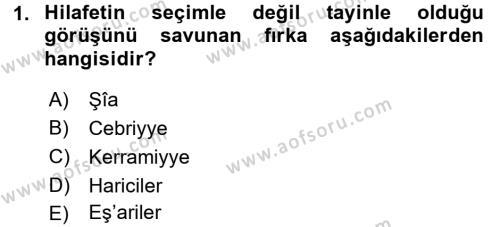 Kelam´a Giriş Dersi 2015 - 2016 Yılı (Vize) Ara Sınav Soruları 1. Soru