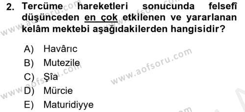 Kelam´a Giriş Dersi 2015 - 2016 Yılı (Vize) Ara Sınav Soruları 2. Soru