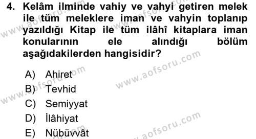 Kelam´a Giriş Dersi 2015 - 2016 Yılı (Vize) Ara Sınav Soruları 4. Soru