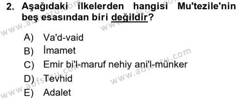 Kelam´a Giriş Dersi 2015 - 2016 Yılı (Final) Dönem Sonu Sınav Soruları 2. Soru