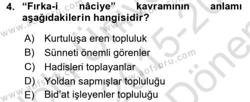 Kelam´a Giriş Dersi 2015 - 2016 Yılı (Final) Dönem Sonu Sınav Soruları 4. Soru