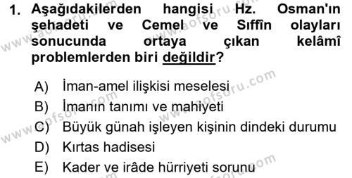 Kelam´a Giriş Dersi 2015 - 2016 Yılı Tek Ders Sınav Soruları 1. Soru