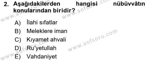 Kelam´a Giriş Dersi 2015 - 2016 Yılı Tek Ders Sınav Soruları 2. Soru