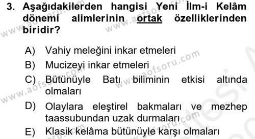 Kelam´a Giriş Dersi 2015 - 2016 Yılı Tek Ders Sınav Soruları 3. Soru