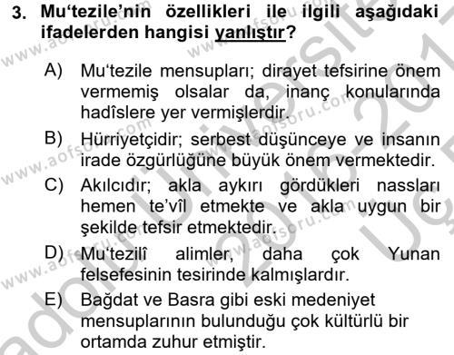 Kelam´a Giriş Dersi 2016 - 2017 Yılı 3 Ders Sınav Soruları 3. Soru