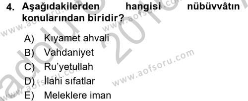 Kelam´a Giriş Dersi 2016 - 2017 Yılı (Vize) Ara Sınav Soruları 4. Soru