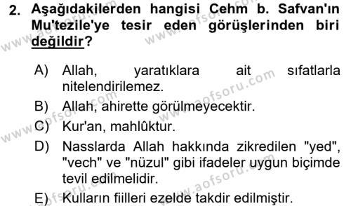Kelam´a Giriş Dersi 2016 - 2017 Yılı (Final) Dönem Sonu Sınav Soruları 2. Soru
